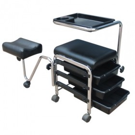 BEAUTYFOR Manicure pedicure trolley and footrest CH-5005A, black